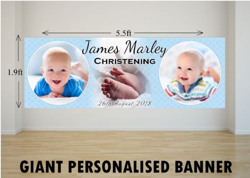 Personalised GIANT Large Boys Christening Baptism Poster Banner N2